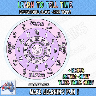 Learn to tell time What the Time Clock - Educational / Colour: Pink - 25cm *NEW*
