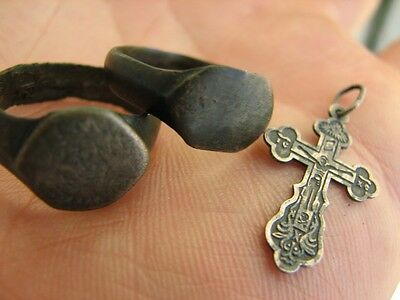 MIX ! NICE VIKING RINGS  and  VINTAGE SILVER CROSS #5367