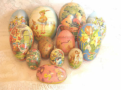 "Vintage 12 Paper Mache/tin Easter Eggs W. Germany/germany 3"" - 7""~Surprises Too!"