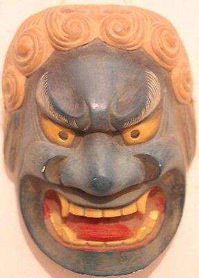 Used Japanese Wearable Noh Theatre Mask Fudo Hand Carved Wood Acala-Vidyaraja