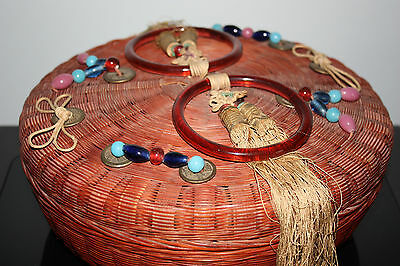 Vintage Antique Peking Glass Chinese Asian Rattan Sewing Basket Coins Tassels