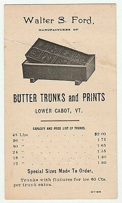 Walter S. Ford butter trunks & prints, Lower Cabot VT, price list