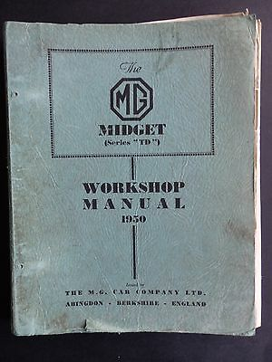 Original Mg Midget (Series Td) Workshop Manual 1950