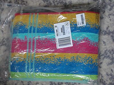 New Pair Of 100%  Cotton Beach Towels Colourful Stripes 58 X 30 Inches 138X76Cms