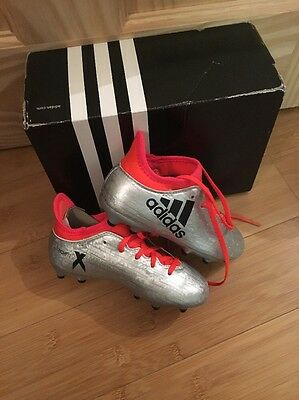Adidas X 16.3 Firm Ground Football Boots BNIB Size 10 Kids Silver