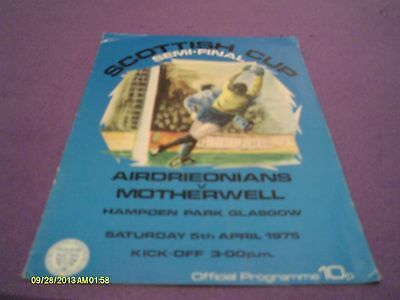 Airdrie V Motherwell Scottish Cup Semi Final Programme 1975
