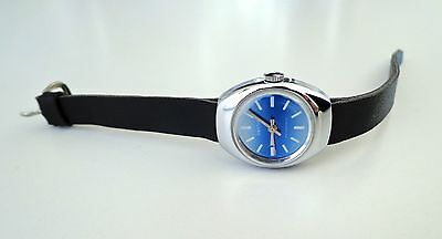Vintage Diantus Swiss Blue Dial Ladies Hand Wind Mechanical Wrist Watch '60s NMT