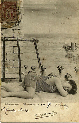 Old Real Photo,Woman on beach write in 1904. Scarce stamp.