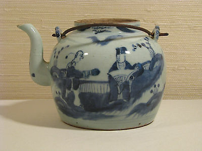 Antique Chinese Blue and White Porcelain Teapot