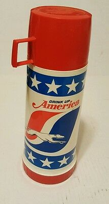 """Greyhound Bus Co.~Glass Lined Thermos With Lid & Cup~""""drink Up America"""" 9.75"""" Ht"""