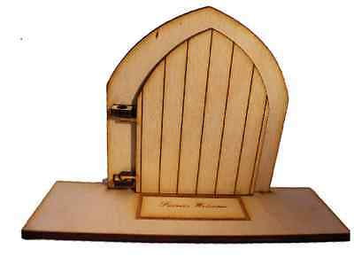 Opening Fairy Door Wooden Birch with engraved base with mat Fairies Welcome