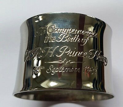Vintage Silver Plated Napkin Ring Commemorating The Birth Of Prince Harry, 1984