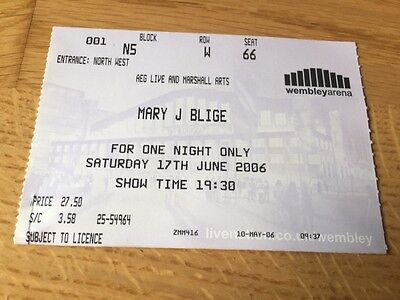 Mary J.blige:::concert Ticket:::for One Night Only:::wembley Arena, London 2006
