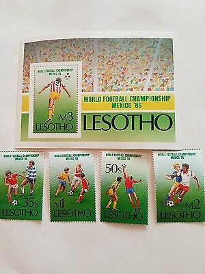Lesotho  Stamps Commerating The  World Cup 1986 Mexico .