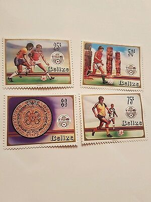 Belize Stamps Football World Cup Mexico 86 .