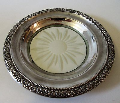Frank M. Whiting Sterling Silver and Glass Botticelli Wine Bottle Coaster