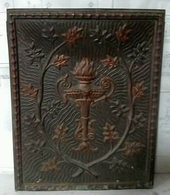 Reclaimed Antique Tin & Copper Surround Mantel Summer Cover only. Torch Motiff.