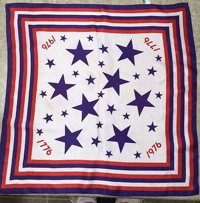 """Vintage 1976 Red White And Blue Bicentennial Scarf 26"""" X 26"""""""