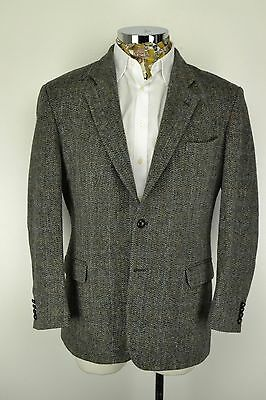 "M&S Harris Tweed Jacket size 46"" Short Grey Marks & Spencer Herringbone & Check"
