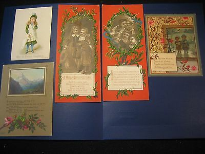 Lot of 5 Victorian Christmas Trade Cards 1800s