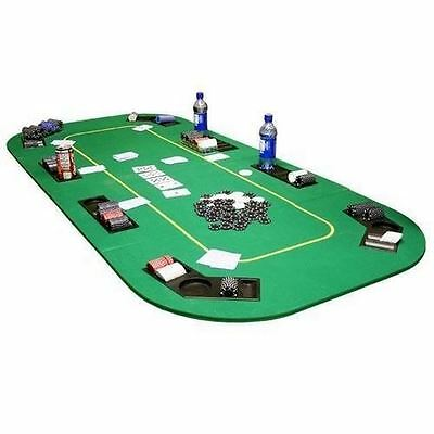 Poker Table Top Texas Hold'em Folding Table Top w/ Cup Holders Poker Table Felt