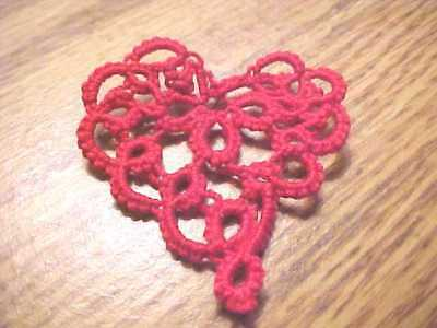 2 Tatted Hearts Valentine New Lacey Red Tatting for Crazy Quilt, Scrapbooking
