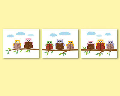 Set of 3 prints / posters, illustrations for kids, baby room- owls reading books