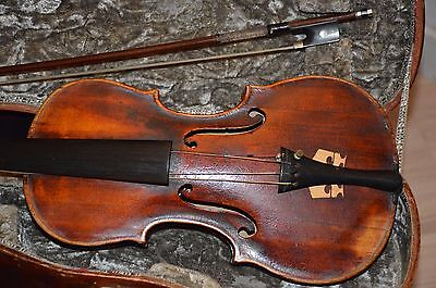 Old Violin, hand-signed inside, Italian(?), with bow and case