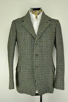 "Green Vintage HARRIS TWEED Blazer 3 Button JACKET 44"" Ex Long"