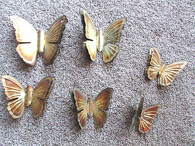 6 Pr Vintage Homco  Metal Gold/Brass Double Butterfly Wall Plaques