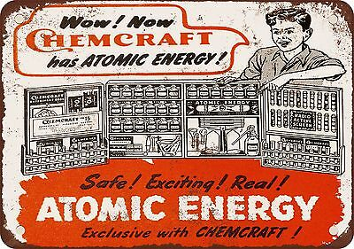"""1947 Chemcraft Atomic Energy Toy Laboratory 10"""" x 7"""" Reproduction Metal Sign"""