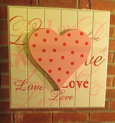 """LOVE BEAD BOARD w/ PINK HEART"" Wood Replacement Sign - Sign for Arrow Holders"