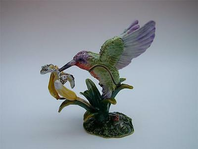 HUMMINGBIRD and FLOWER Enamelled Crystal Bird Trinket Box