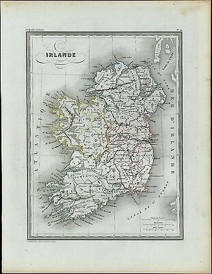 Ireland c.1840 antique engraved map Bellier old hand color scarce