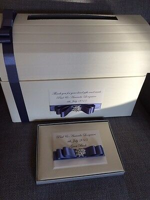 IVORY//WHITE PERSONALISED BUTTERFLY WEDDING POST BOX CHEST /& GUEST BOOK GIFT SET