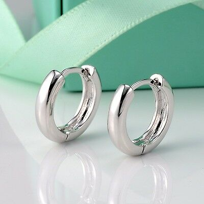 18k White Gold Filled Cute Womens Smooth Earrings Fashion Hoop Huggie Gift new