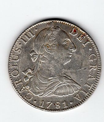 1781 MO FF Mexico 8 REALES, Charles III  - Silver Coin Choice Condition