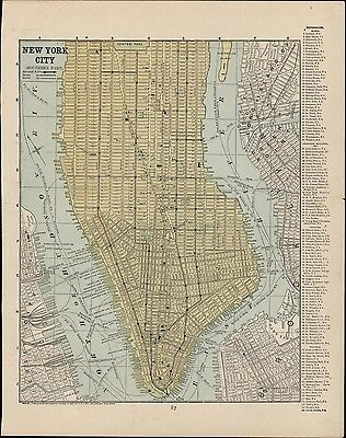 New York lower Manhattan city plan c.1890's map Horse trolley routes steam RR's