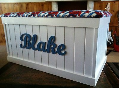 Toy box - Personalised raised script name of your choice.Solid pine construction