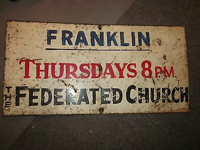 vintage metal federated church sign franklin
