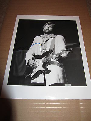 Eric Clapton -   Guitar Pose Signed  10X8 Bw  Photo  -  Uacc  Proof