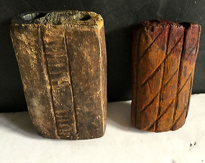 c1800's Lot of Two Authentic Carved Wooden Native American Paint Face Pots L6