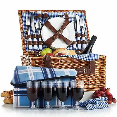 VonShef 4 Person Wicker Picnic Basket Hamper Set with Flatware Plates and Win...