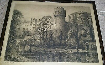J R Hutchinson 19thC Antique Etching Castle Signed in Original Frame Sepia print