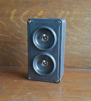 Vintage Industrial Cast Iron light switch Crabtree 2 gang stripped restored 9