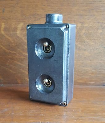 Vintage Industrial Cast Iron light switch Wallsall 2 gang stripped restored 6
