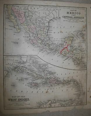 Map; Mexico & Central America - Map Of West Indies  1887