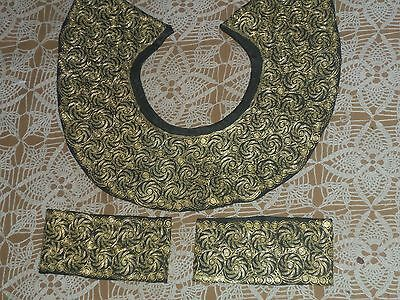 Chinese Embroidery-Cuffs & Collar-Gold Metallic Couching with yellow silk thread