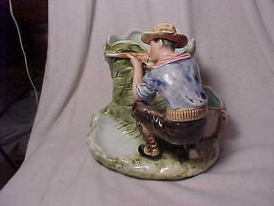 Vintage Majolica Cowboy Tobacco And Match Holder