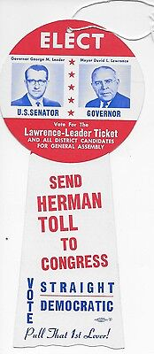 Philadelphia Democrat Door Hanger----Leader & Lawrence & Toll   1958
